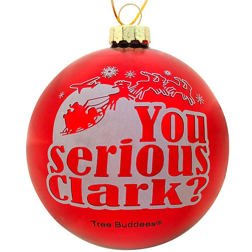 You serious Clark? Red Glass Christmas Ornament