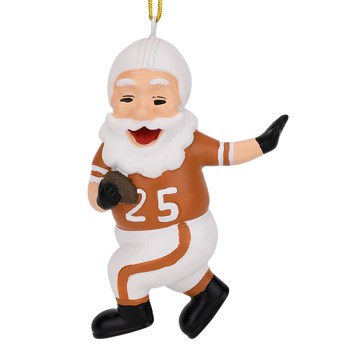 Touchdown Santa Christmas Sports Football Ornament (White & Dirty Orange)