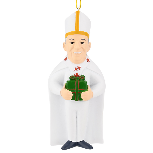 The Pope with a Present Cute Religious Christmas Ornament