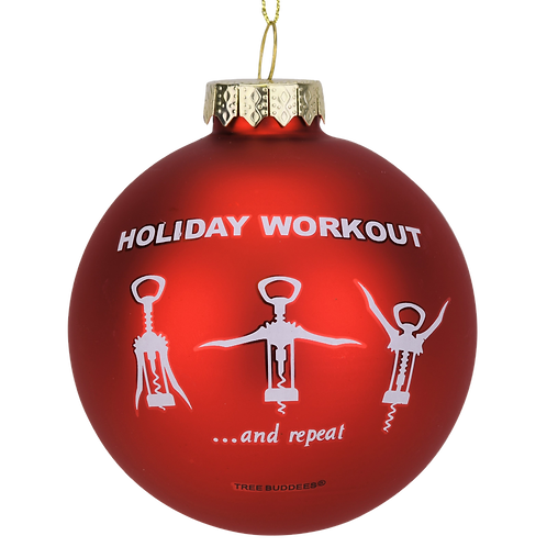 Wine Opener Holiday Workout Funny Glass Christmas Ornament