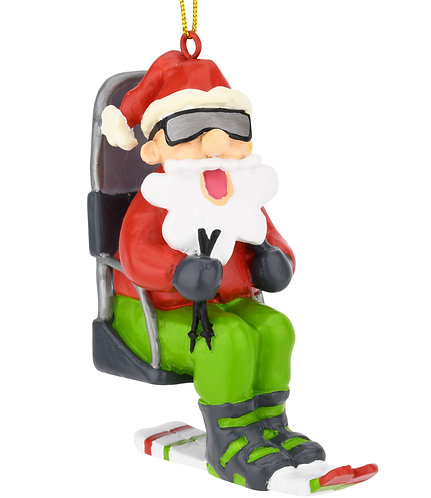 Skiing Santa on a Chairlift Christmas Ornament