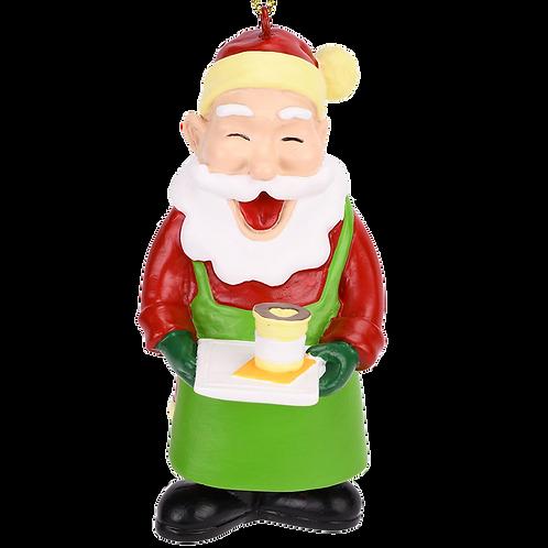 Barista Santa Christmas Tree Coffee Ornament