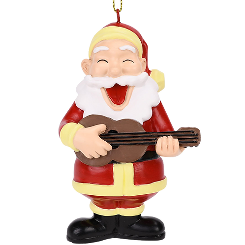 Rockin Around The Christmas Tree Guitar Playing Santa Ornament