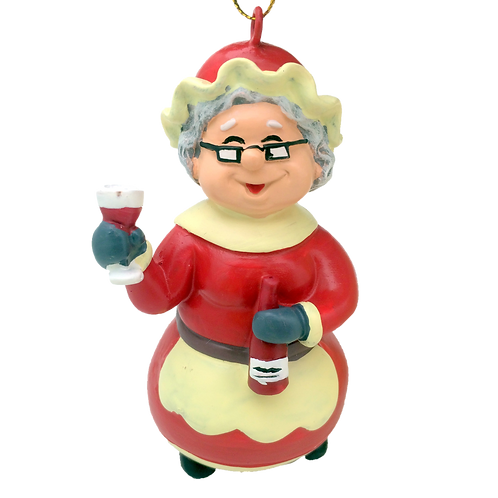 Wine Mrs. Claus Christmas Ornament