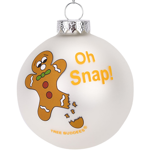 Oh Snap! Funny Gingerbread Man Glass Christmas Ornament