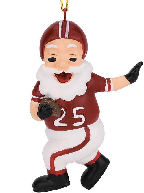 Touchdown Santa Christmas Sports Football Ornament (Dark Red & White)