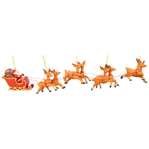Large 5 Piece Full Santa's Sleigh and 8 Reindeer Christmas Ornament