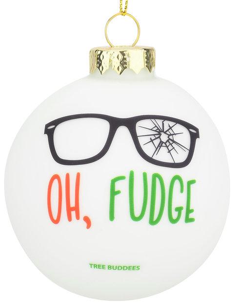 Oh Fudge Funny Glass Christmas Ornament