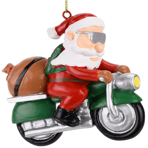 Biker Santa Claus Motorcycle Christmas Tree Ornament