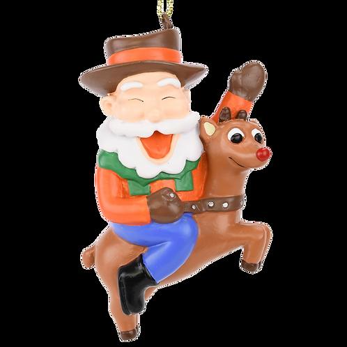 Cowboy Santa Riding Rudolph Christmas Ornament