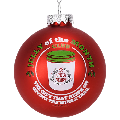 Jelly of The Month Club Red Glass Christmas Ornament