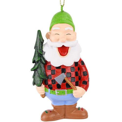 Lumberjack Santa with Xmas Tree Christmas Ornament