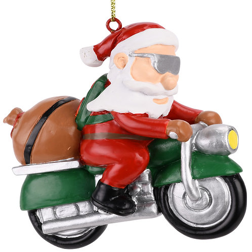 Biker Santa Claus Motorcycle Christmas Tree Ornament