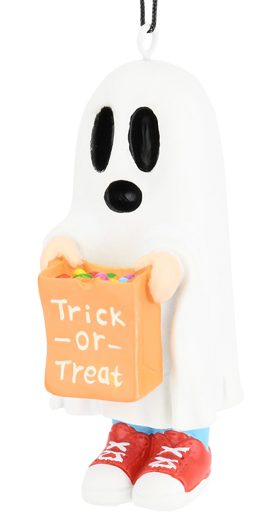Trick or Treating Kid in Ghost Costume Halloween Ornaments