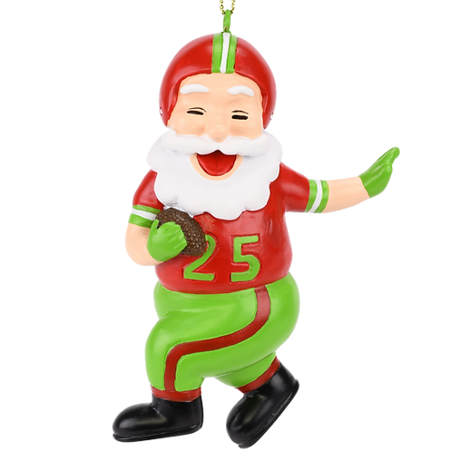 Touchdown Santa Christmas Sports Football Ornament (Xmas Colors)