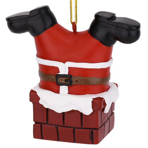 Santa Stuck in The Chimney Christmas Ornament