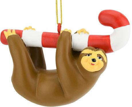 Candy Cane Sloth Animal Christmas Ornaments