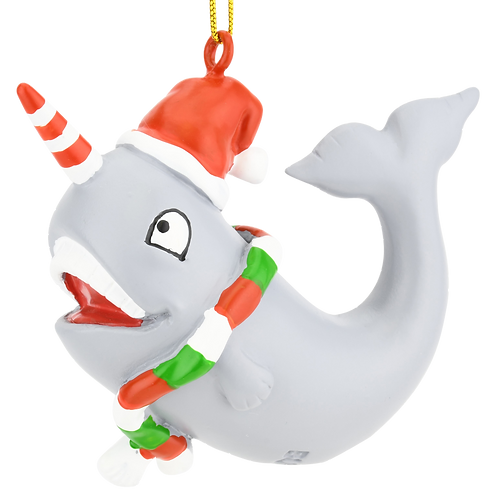 Cute Candy Cane Narwhal Animal Christmas Ornament