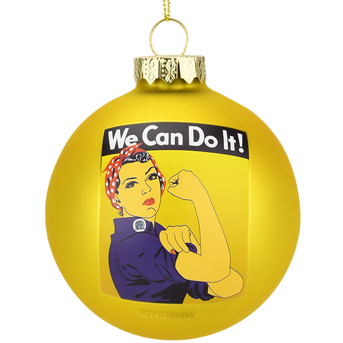 Rosie The Riveter - We Can Do It Glass Christmas Ornament