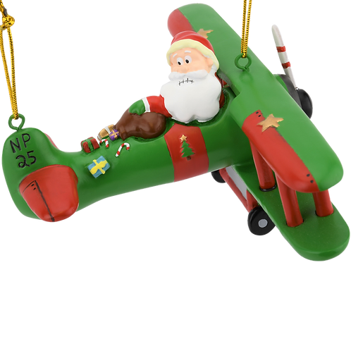 "Large 6"" Funny Aviator Santa Flying Plane Losing Presents Ornament"