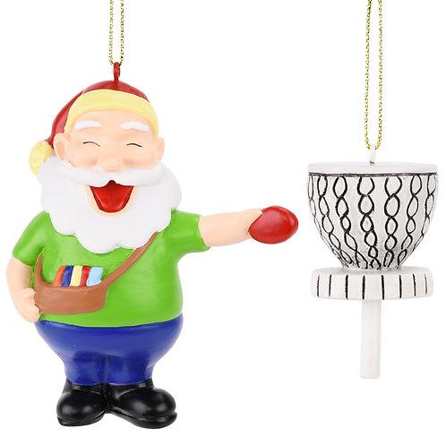 Santa Frisbee Disc Golf Christmas Ornament 2 Piece Set