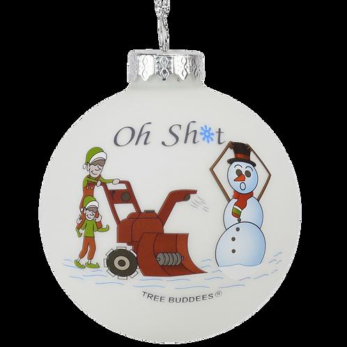 Oh Sh*t Funny Snowblower vs Snowman Glass Bulb Ornament