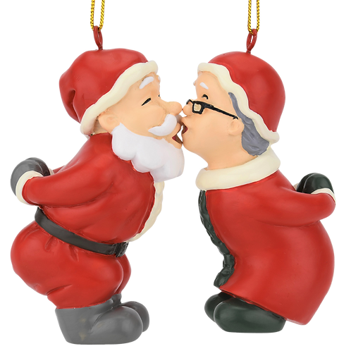 Kissing Claus' Cute Magnetic Set of 2 Kiss Christmas Ornaments