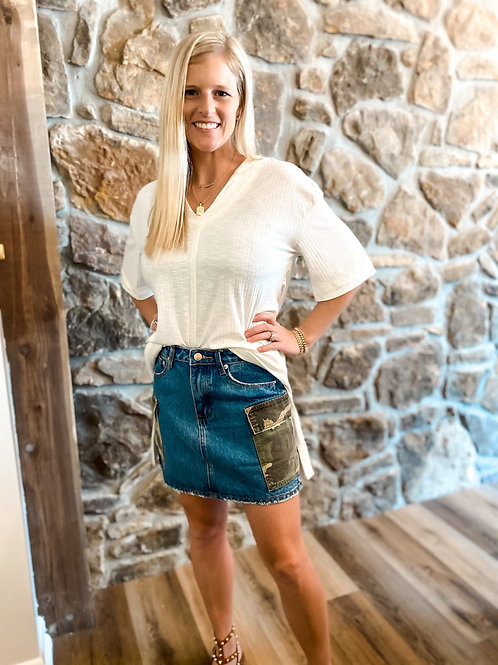 camo pocketed jean skirt
