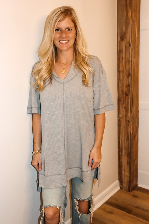 grey ribbed hooded top