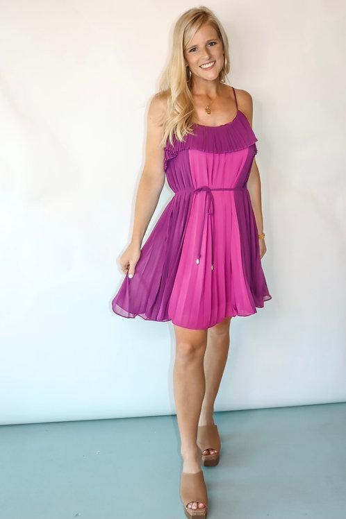 dark purple pleated dress