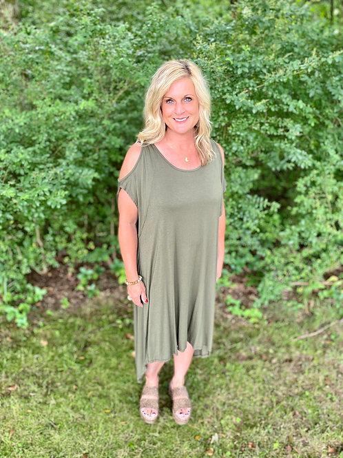 Olive Cold Shoulder High/Low Dress