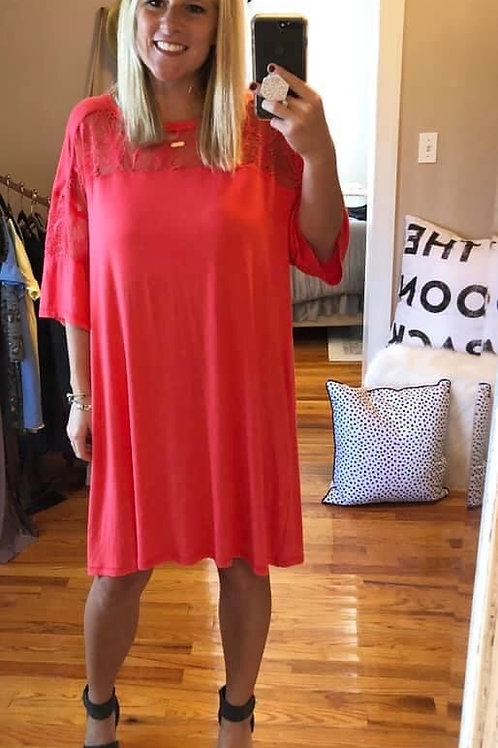 coral casual dress or top