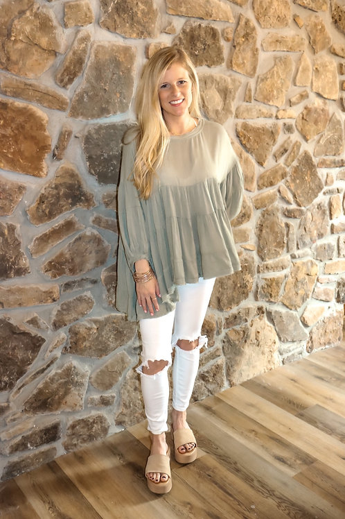 olive flowy top