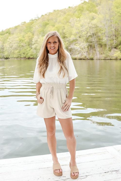 high waisted cream shorts