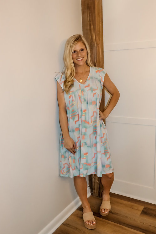 abstract baby blue dress