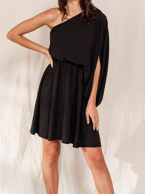 black one shoulder neckline dress