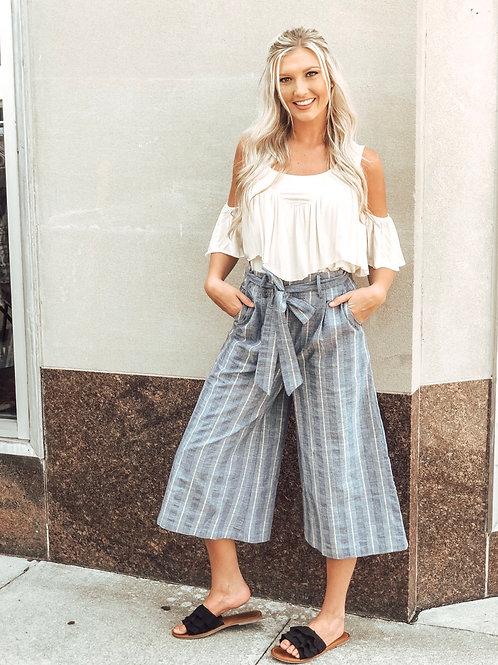 Striped Linen Culottes
