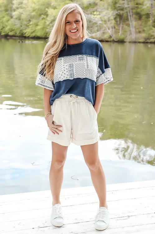 paisley navy top