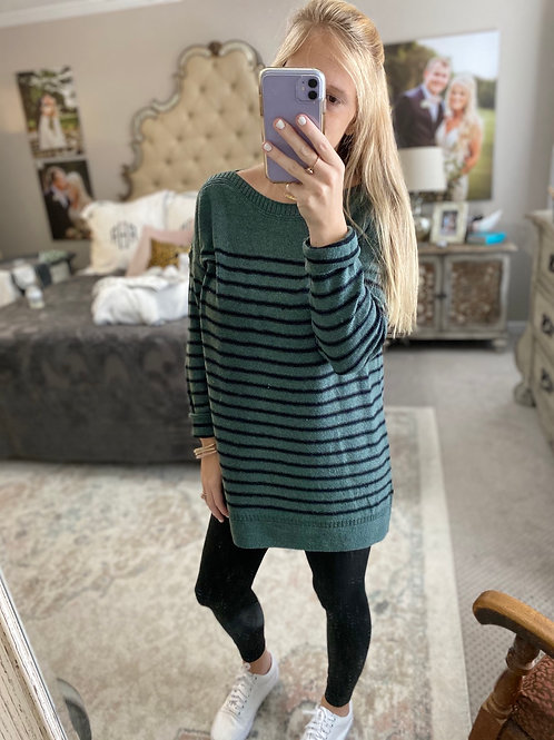 stripe green sweater