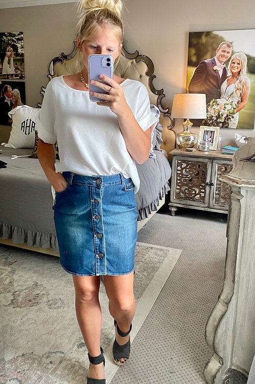 snap it up blue jean skirt