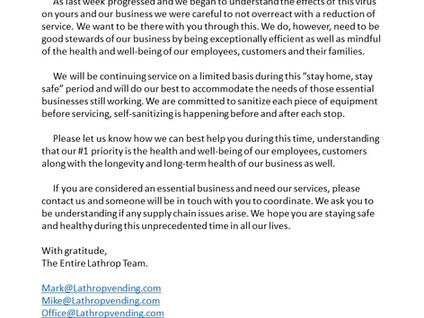 Lathrop Vending Customer & Family Support
