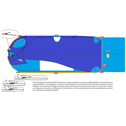 Kit couchage GRANDE TAILLEC2AG avec 2 liaisons L115, 1 L3000 et une alèse