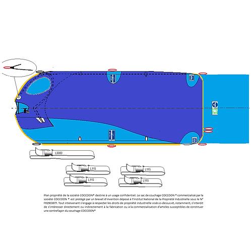 Kit couchage GRANDE TAILLE C2AG avec 4 liaisons L115 et une liaison L3000