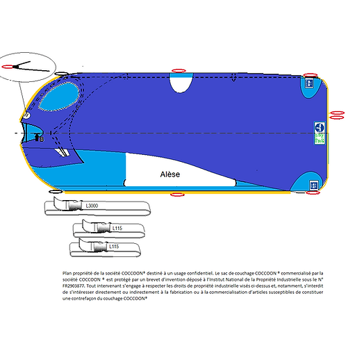 Kit couchage PETITE TAILLE C2AK deux liaisons L115, 1 liaison L3000 et