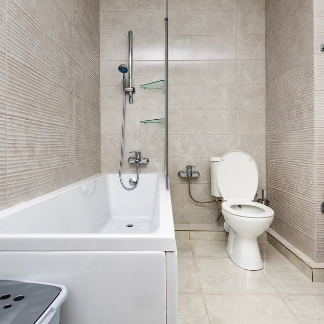 bathroom remodel: wall tile installation and installment of appliances