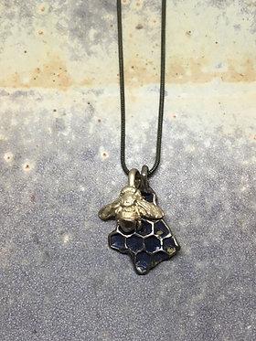 Bronze HoneyBee & HoneyComb combo pendent