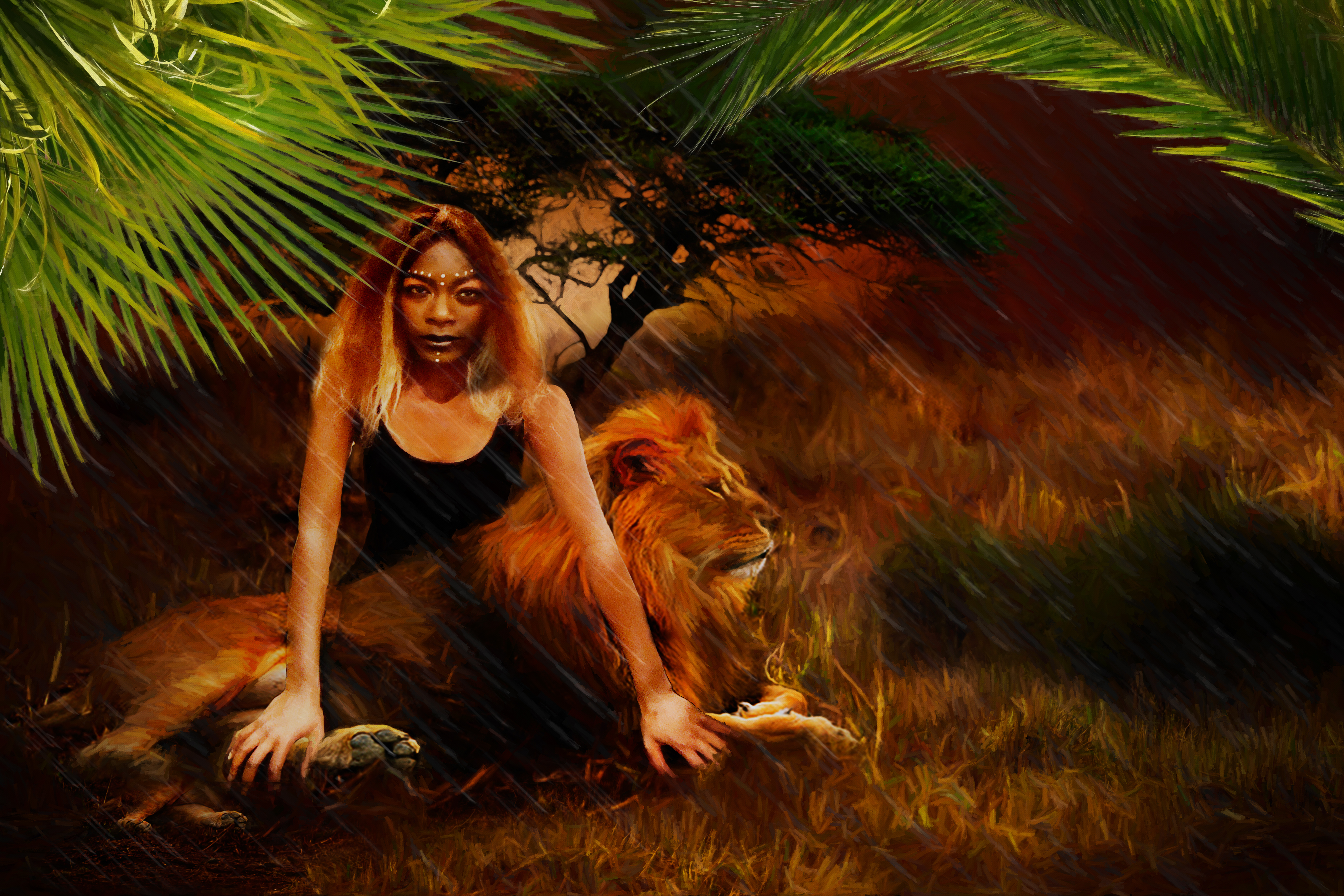 SHEMEKA AND THE LION in the Rain30x20