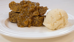 Lentil Loaf and Gravy with Mashed Garlic Cauliflower