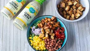 Spicy BBQ Vegan Chicken Salad with Brioche Croutons