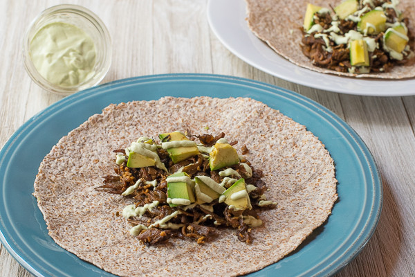 Rican Vegan Mushroom Carnitas with Non-Dairy Cilantro Lime Crema